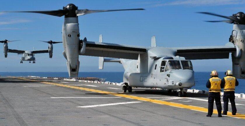 Osprey landing on the amphibious assault ship Makin Island.