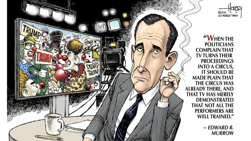 Edward R. Murrow says politicians, not TV, create the political circus