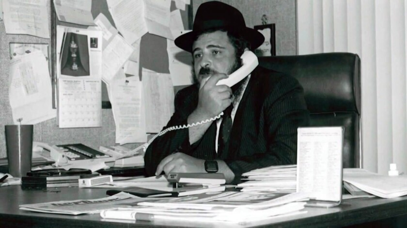 "Rabbi Yehoshua Binyamin ""Josh"" Gordon in his office in the Chabad-Lubavitch Center of Encino, which was also headquarters of Chabad-Lubavitch of the Valley at the time of this early 1980s photo."