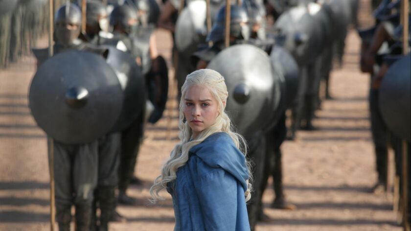 "This image released by HBO shows Emilia Clarke in a scene from ""Game of Thrones."" The final season p"