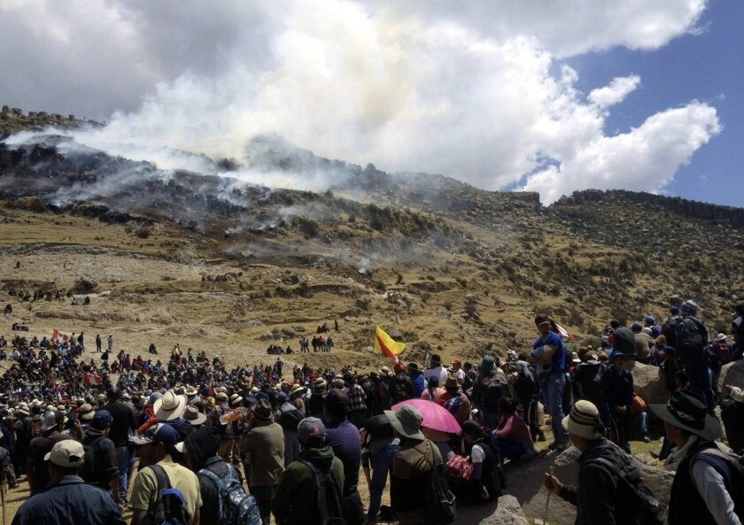 Protesters at Las Bambas mine on Sept. 29 in Peru's Apurimac region.