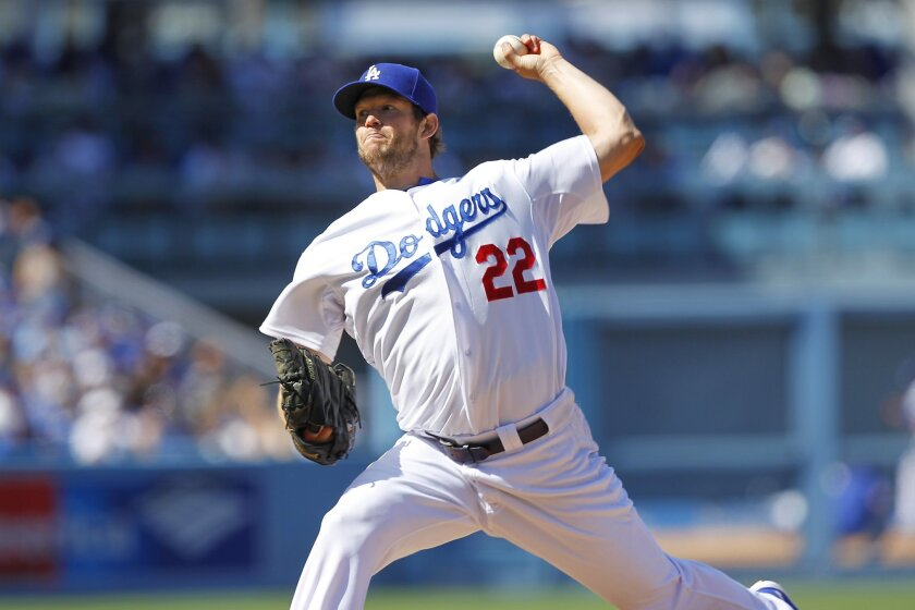 Dodgers Clayton Kershaw pitches against the Padres.