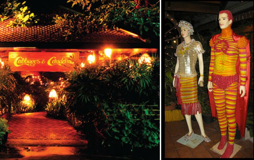 The exterior of Condoms and Cabbages, a condom-themed restaurant in Bangkok, Thailand, on the left. On the right, mannequins in the restaurant depicting two superheroes wearing costumes made of condoms.