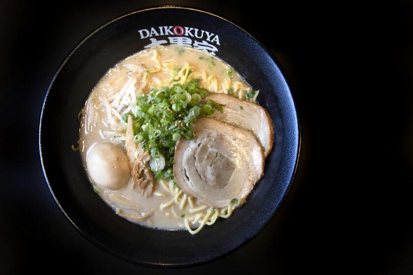 LOS ANGELES, CALIFORNIA - OCTOBER 18, 2018: The Daikoku Ramen with the tonkotsu soup base at Daikoku