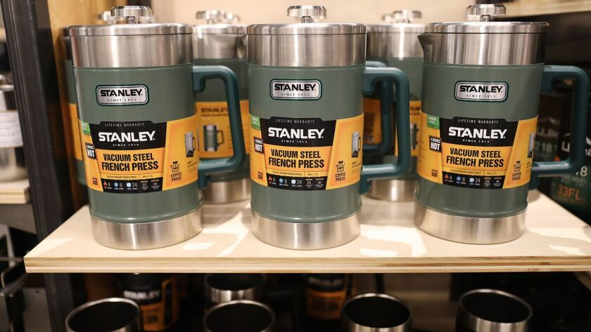 French press coffee machines on sale at an LL Bean store.