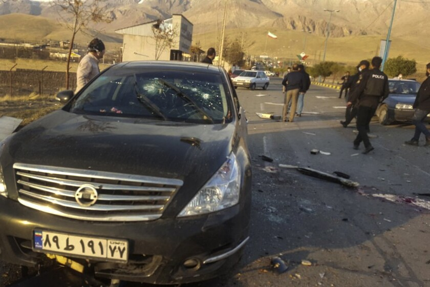 A wrecked car in Iran at the scene where Mohsen Fakhrizadeh-Mahabadi was killed.