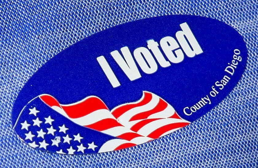 """This is an image of an """"I voted"""" sticker in San Diego County."""