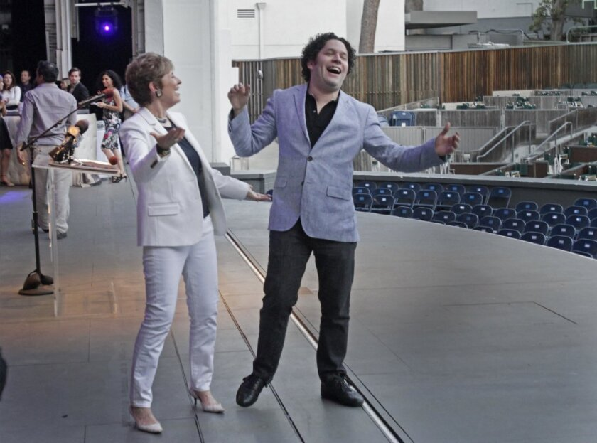 Nearing bliss? Mirthful laughter -- such as that shared this week by L.A. maestro Gustavo Dudamel and L.A. Philharmonic President Deborah Borda -- sets off brain wave patterns quite similar to those attained during meditation by expert practitioners, a new study says