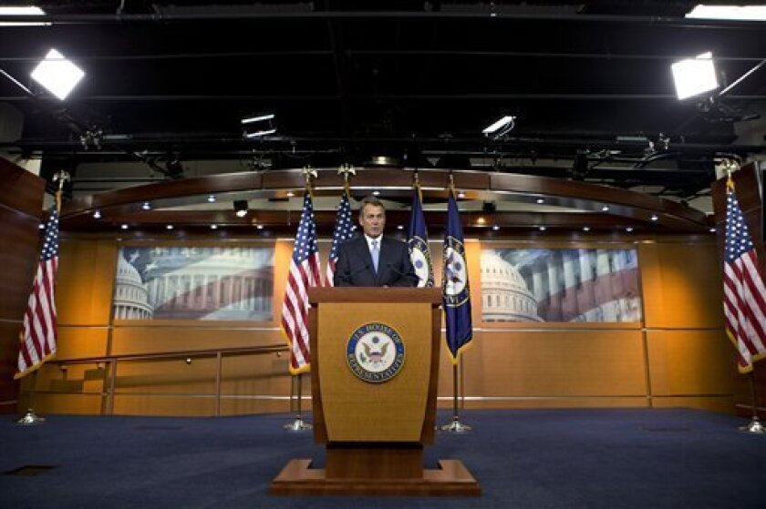 House Speaker John Boehner of Ohio takes questions from reporters on gun control, immigration and the budget during a news conference on Capitol Hill in Washington, Thursday, April 11, 2013. (AP Photo/J. Scott Applewhite)
