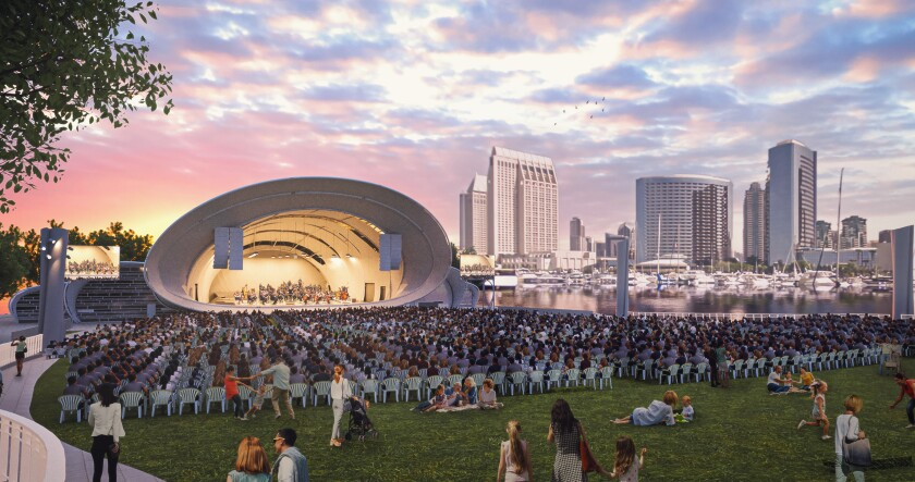 The Shell, the San Diego Symphony's new, year-round outdoor concert and events venue, was scheduled to open July 10. Its opening has now been pushed back to next year because of the coronavirus pandemic.