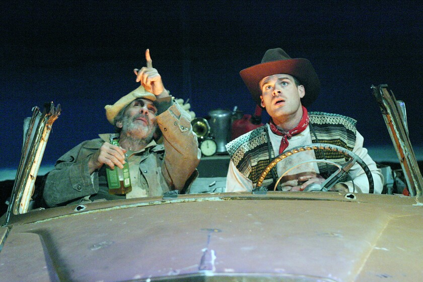 "An aged gunslinger (Carl Weintraub, left) and his resurrected brother (Jordan Morgan) contemplate the mysteries of a loopy alternative universe in ""The Unseen Hand,"" the Sam Shepard play at the Odyssey."
