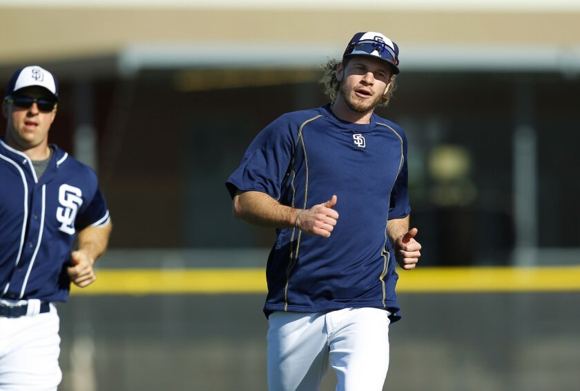 San Diego Padres outfielder Travis Jankowski runs during a spring training practice.