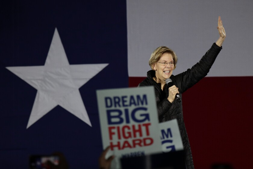 Democratic presidential candidate Sen. Elizabeth Warren (D-Mass.) addresses supporters during a town hall in San Antonio.
