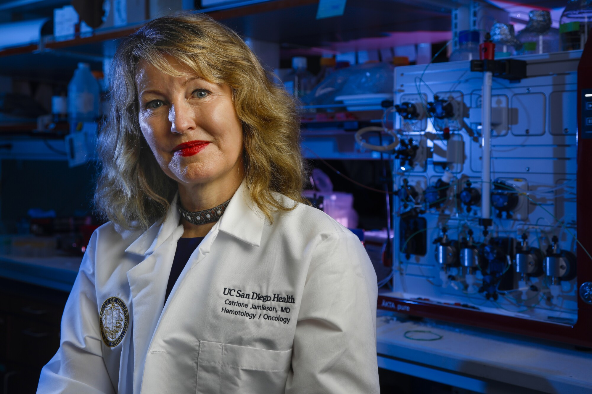 Dr. Catriona Jamieson treats patients with blood cancers. The UCSD oncologist is also a researcher who helped prove that a recently approved cancer drug, fedratinib, was a good candidate for clinical testing. Jamieson is shown in her lab at the Sanford Consortium for Regenerative Medicine on October 4, 2019, in San Diego.