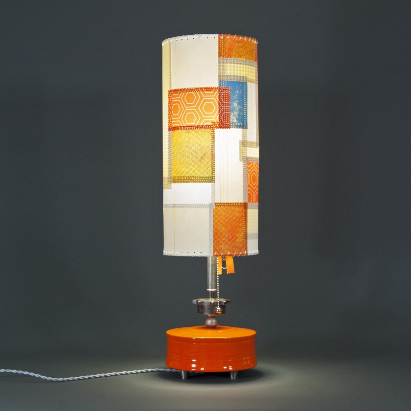 One-of-a-kind lamps designed with industrial hardware, handmade ceramics and patchworked shades debu