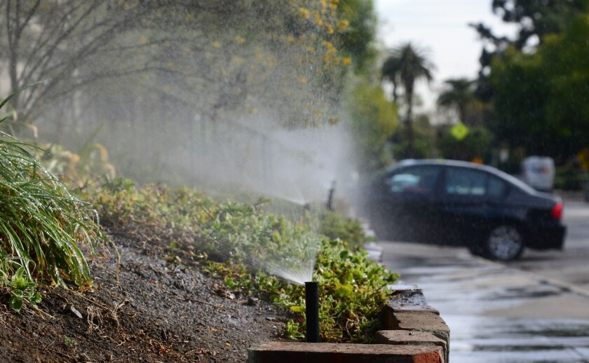 Sprinklers water plants and the sidewalk in South Pasadena. Some utilities are experimenting with a program that allows residential customers to compare their water use with similar-sized homes.