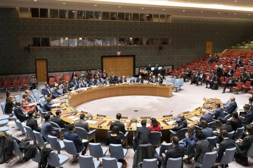Fotografía cedida por la ONU donde aparece el pleno del Consejo de Seguridad durante una reunión sobre la situación en Siria celebrado hoy en la sede del organismo en Nueva York (EE.UU.). EFE/Mark Garten/ONU/SOLO USO EDITORIAL/NO VENTAS