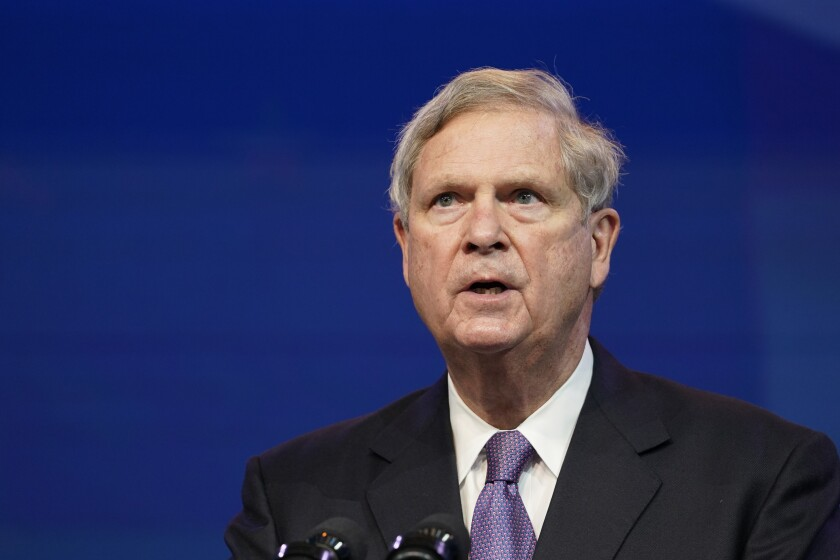 FILE - In this Dec. 11, 2020, file photo former Agriculture Secretary Tom Vilsack, who the Biden administration chose to reprise that role, speaks during an event at The Queen theater in Wilmington, Del. (AP Photo/Susan Walsh, File)