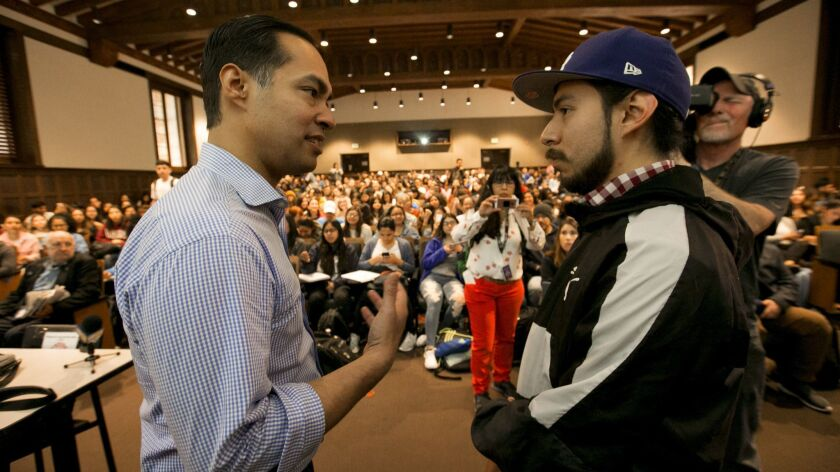 LOS ANGELES, CA MARCH 4, 2019: After Democratic presidential candidate Julian Castro, left, speaks