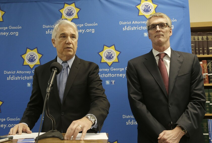 San Francisco Dist. Atty. George Gascon, left, and FBI Special Agent in Charge David J. Johnson at a news conference last month.