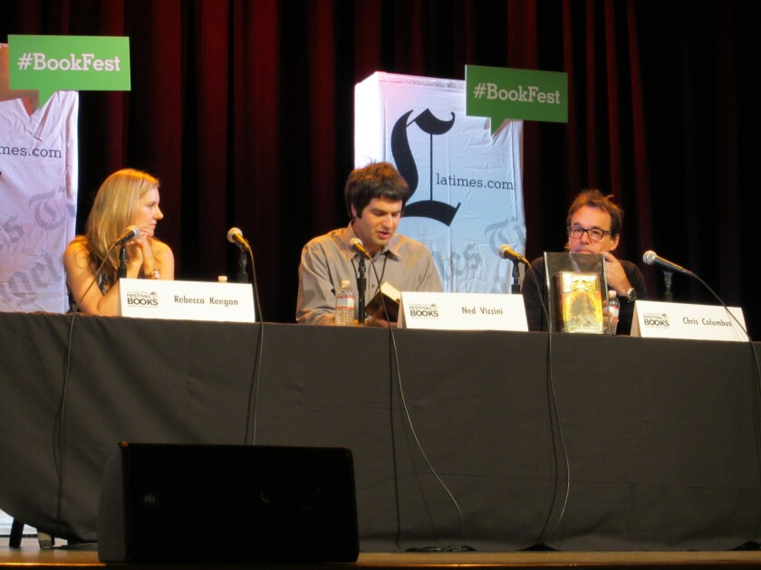 """L.A. Times staff writer Rebecca Keegan, author Ned Vizzini and author and filmmaker Chris Columbus discuss """"House of Secrets"""" at the Los Angeles Times Festival of Books on Saturday."""