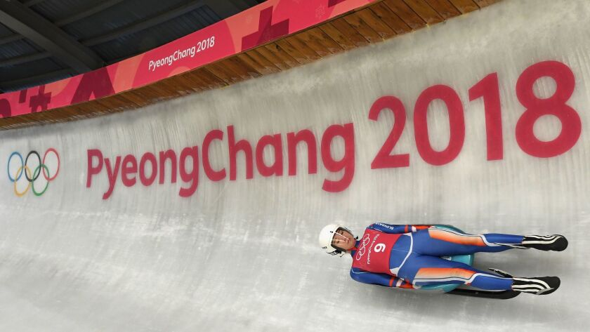 Luger Katarina Simonakova of Slovakia trains ahead of the Pyeongchang 2018 Winter Olympic Games at the Olympic Sliding Centre on February 6, 2018 in Pyeongchang-gun, South Korea.
