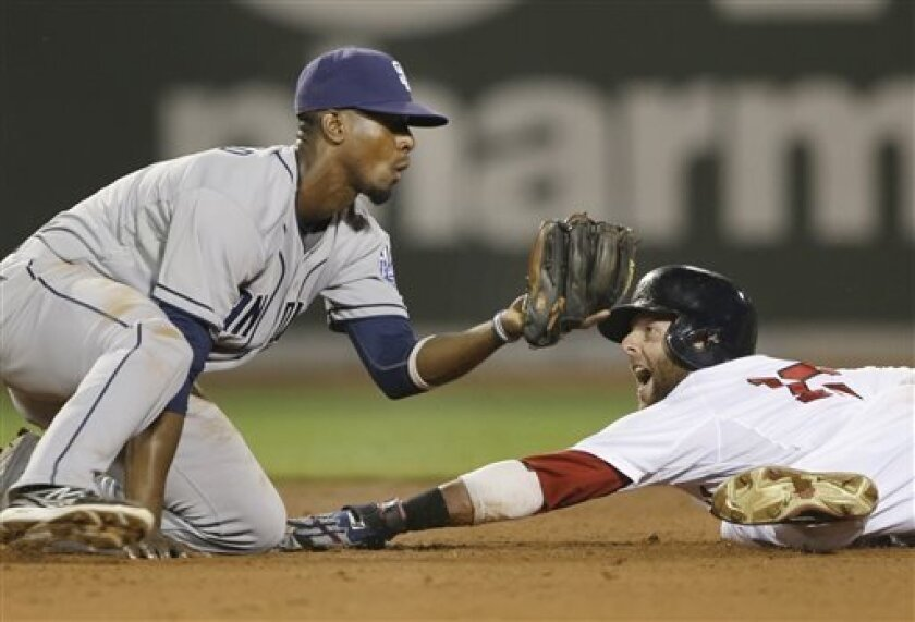 Boston Red Sox's Dustin Pedroia reacts as he is called out trying to steal second base as San Diego Padres shortstop Pedro Ciriaco tags him during the fifth inning of an interleague baseball game at Fenway Park in Boston, Tuesday, July 2, 2013. (AP Photo/Elise Amendola)