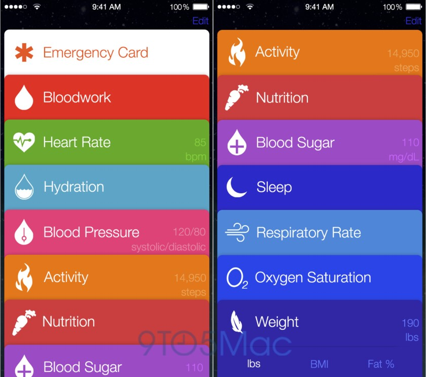A mock-up of Healthbook, an app Apple is reportedly developing.