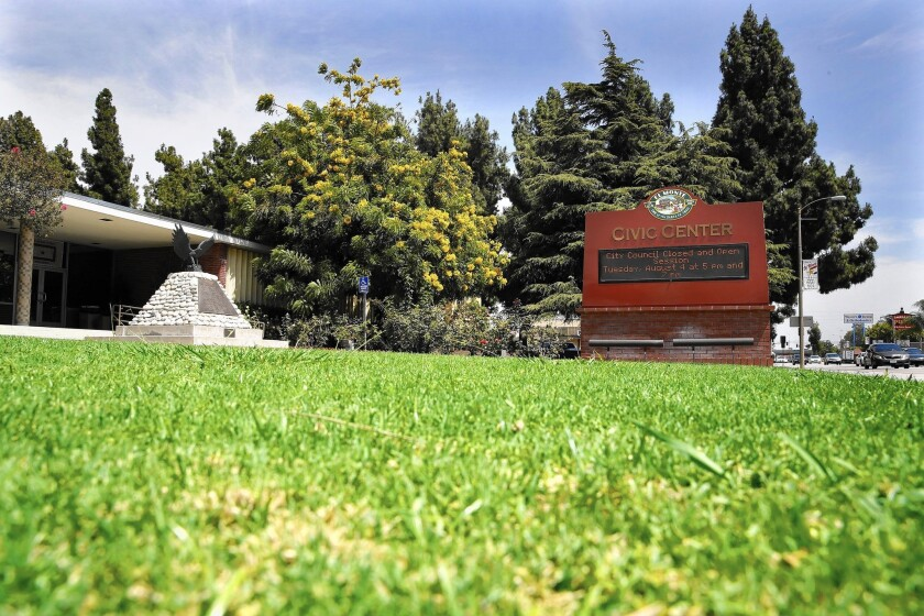 The lawn is green outside the Civic Center in El Monte, where the City water utility has fallen short of its conservation target.