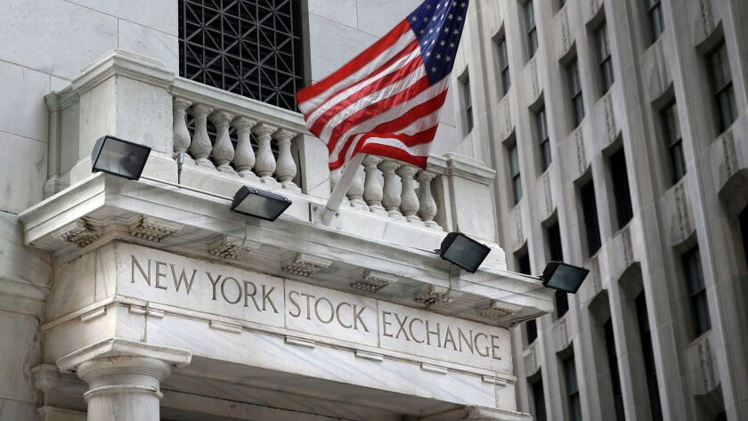A U.S. flag flies from the New York Stock Exchange.