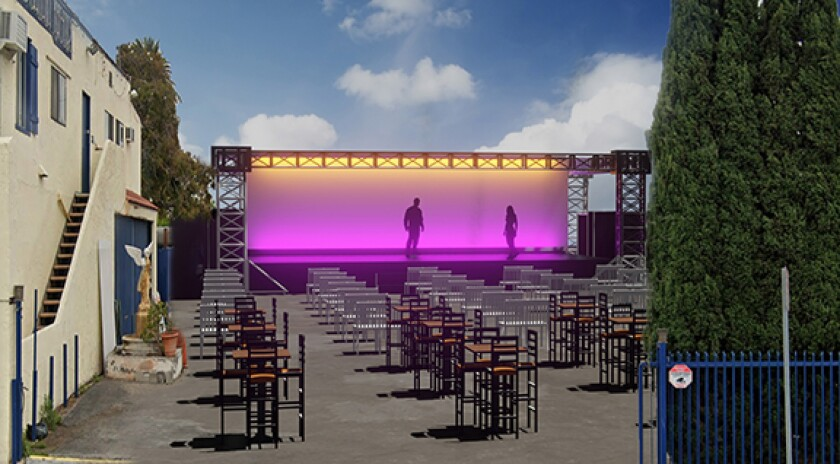 An artist's rendering of the outdoor stage to be erected in the parking lot of the Fountain Theatre.