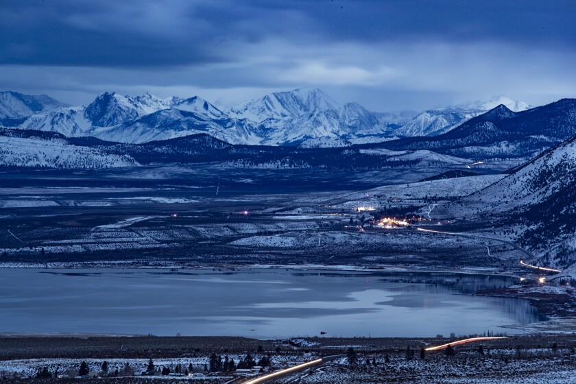 Mono Lake and the town of Lee Vining