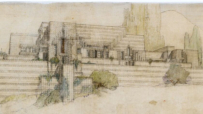 Detail of a drawing of Frank Lloyd Wright's Ennis House, Los Angeles, 1924-25.
