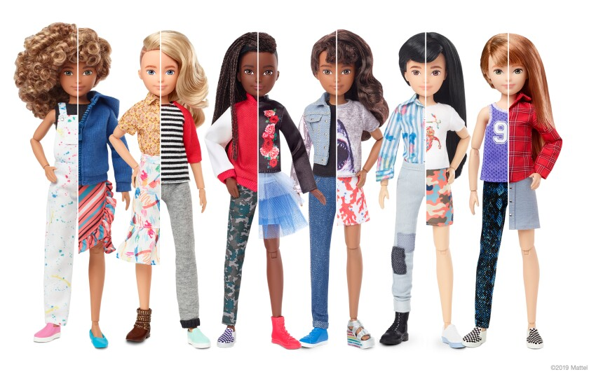 Shown is a lineup of Mattel's new gender-inclusive Creatable World dolls.