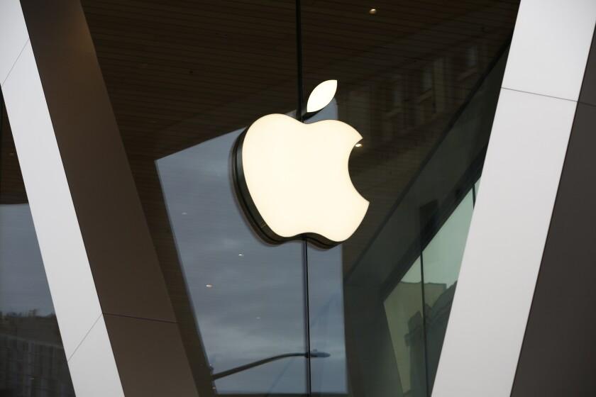 An Apple store logo in Brooklyn, N.Y.