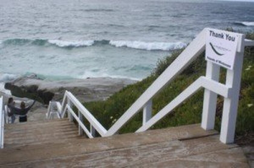 S.W. Gillen Painting of La Jolla donated its services to repaint the stair handrails at the end of Westbourne Street at WindanSea.