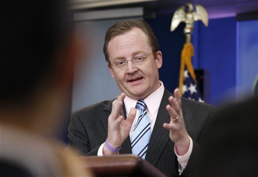 White House Press Secretary Robert Gibbs briefs reporters at the White House in Washington, Thursday, Oct. 7, 2010. (AP Photo/Charles Dharapak)