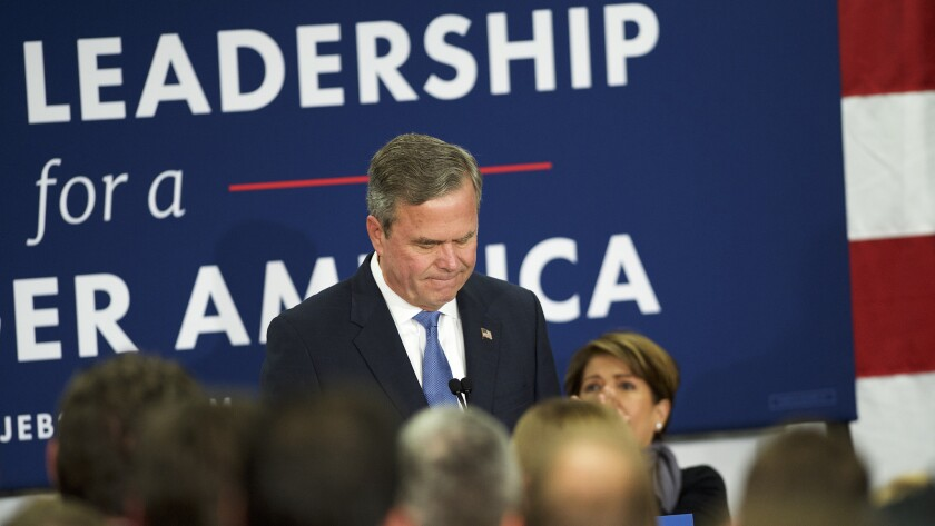 Jeb Bush tells supporters in South Carolina that he is ending his campaign for president.