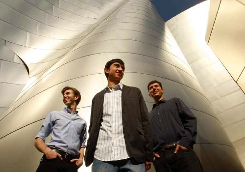 HALL PASS: L.A. Phil will play works by Andy Alden, left, Tim Callobre and Saad Haddad this week at Disney Hall.
