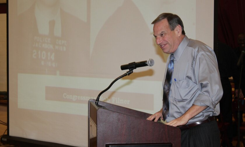 Bob Filner, speaking with students at The Bishop's School in February. Pat Sherman photos