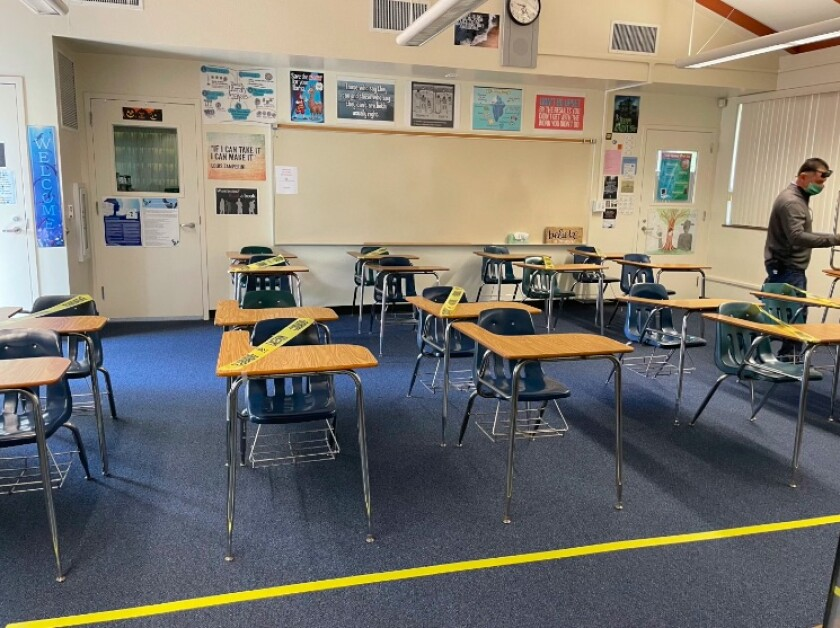 A classroom at La Costa Canyon reconfigured for reopening.