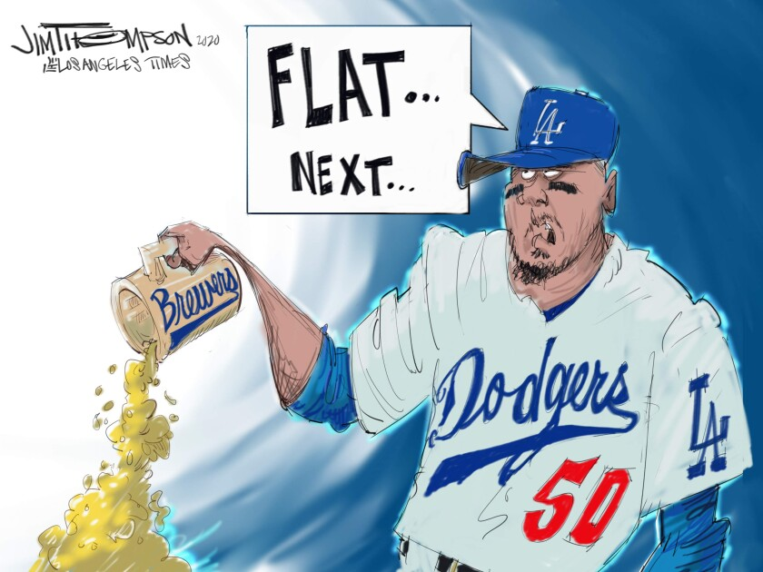 Cartoon showing Dodgers and Brewers