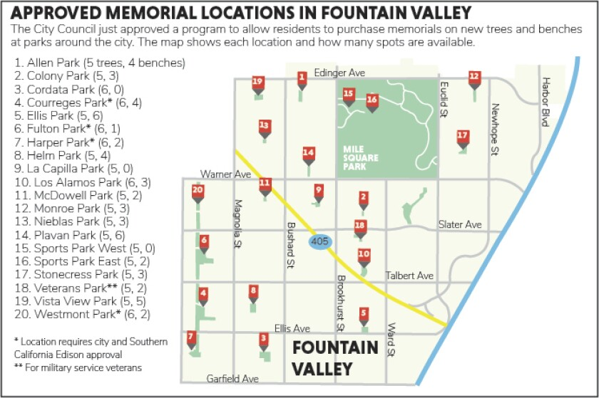 Map of approved memorial locations in Fountain Valley