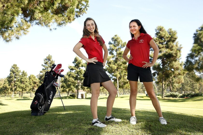 Veterans Madeleine Garay (left) and Waverly Whiston have welcomed their younger siblings onto the La Jolla girls golf team this season.