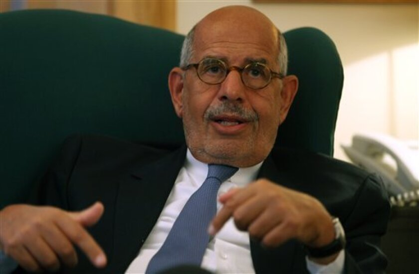 Egypt's leading opposition leader Mohamed ElBaradei speaks to a small group of journalists including The Associated Press at his house in the outskirts of Cairo, Egypt. Tuesday, April 30, 2013. El Baradei said a deeply polarized Egypt needs political consensus to tackle a burning economic crisis an