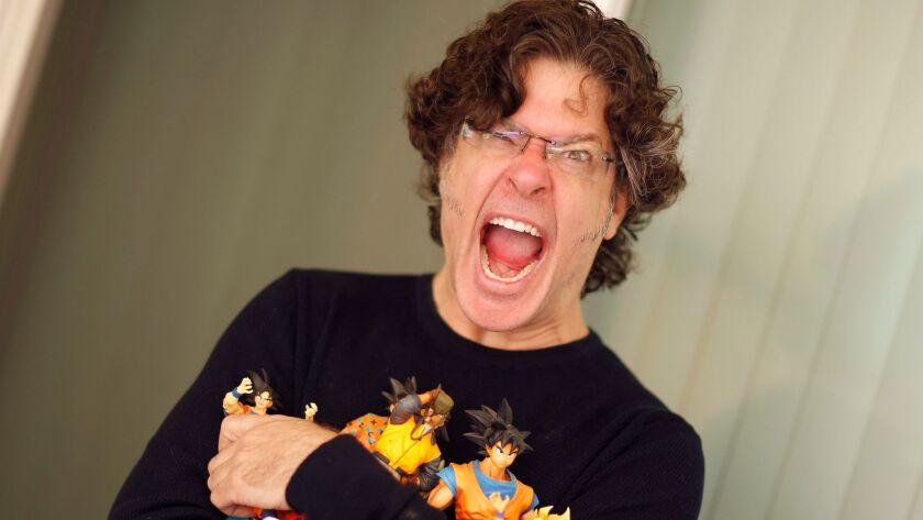"""Sean Schemmel has voiced Goku in the English dub of """"Dragon Ball"""" for 18 years, and he's got the toys to show for it. How does he cope with the yelling? """"It's all about breath support,"""" he says."""
