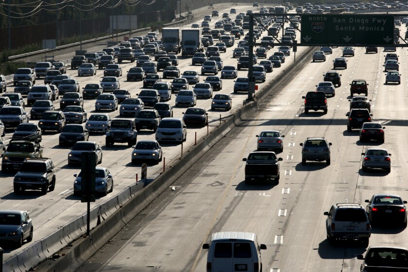 Traffic crawls along the 405 Freeway near the 22 and 605 freeways in Seal Beach, ranked by a recent study as the second-worst bottleneck in the United States.