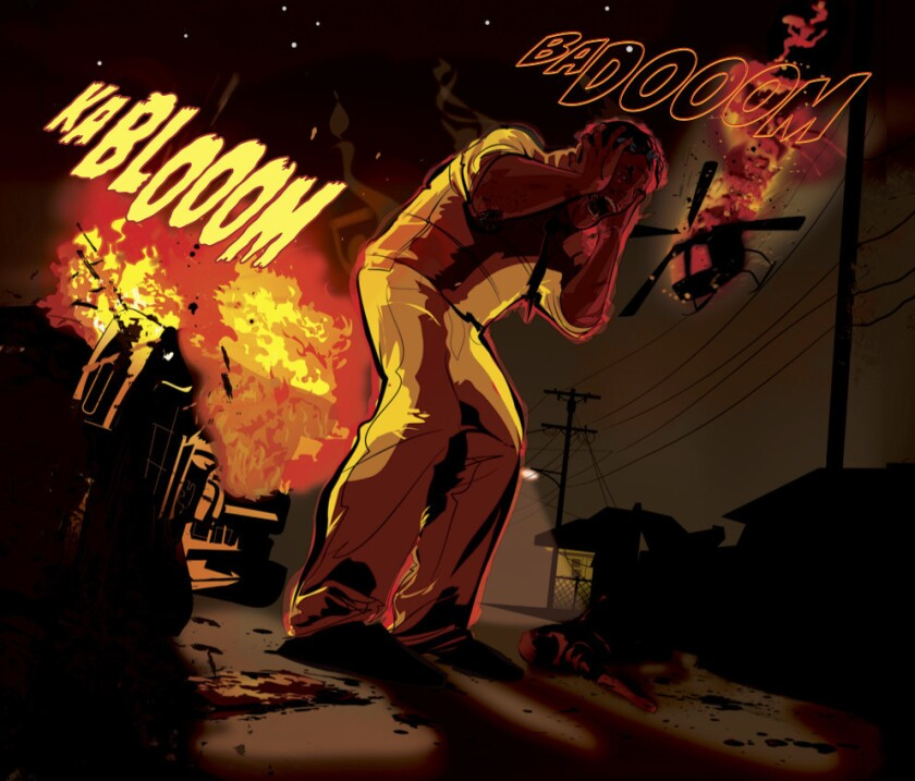 "A panel from ""Genius,"" written by Marc Bernardin and Adam Freeman, illustrated by Afua Richardson, depicts a Los Angeles in the throes of a gang offensive."