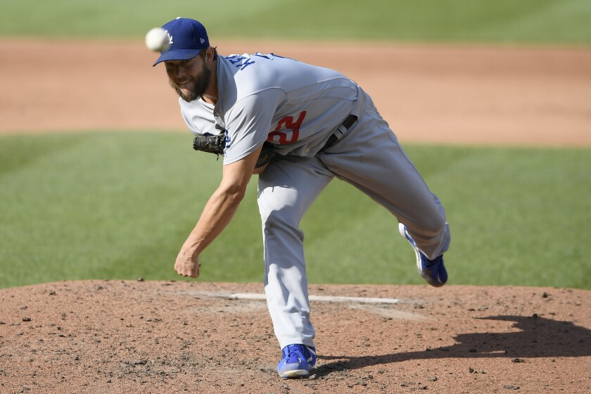 Dodgers starter Clayton Kershaw delivers against the Washington Nationals on Saturday.