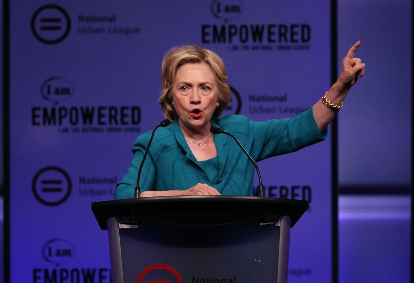 Democratic presidential hopeful and former Secretary of State Hillary Clinton speaks during the Presidential Candidates Plenary at the National Urban League conference in the Fort Lauderdale Convention Center on July 31, 2015, in Florida.